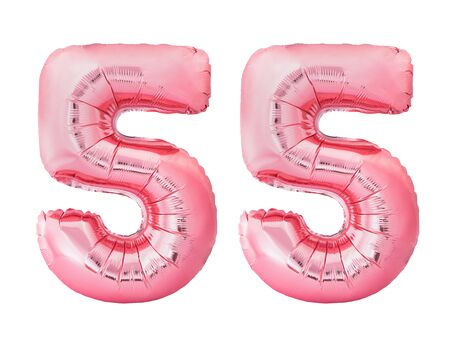 Number 55 fifty five made of rose gold inflatable balloons isolated on white background. Pink helium balloons forming 55 fifty five number