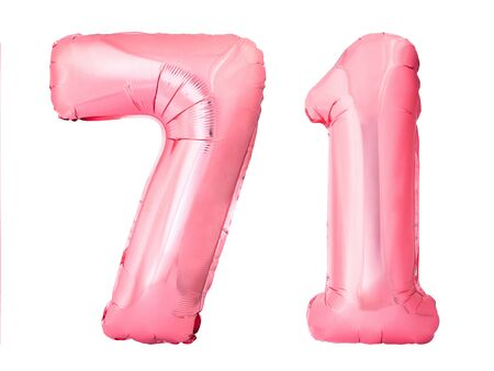 Number 71 seventy one of rose gold inflatable balloons isolated on white background. Pink helium balloons forming 71 seventy one