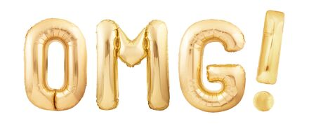OMG! for Oh My God! or Oh My gosh slang acronym with exclamation mark made of golden inflatable balloons isolated on white background