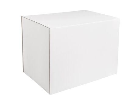 White rectangular cardboard box isolated on white background. Blank white box on white background
