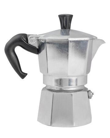 Metal geyser coffee pot, isolated on white background. Coffee maker isolated on white