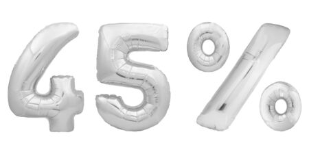 Chrome number forty five 45 percent made of silver metallic inflatable balloons isolated on white background. One of full percentage set 스톡 콘텐츠