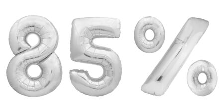 Chrome number eighty five 85 percent made of silver metallic inflatable balloons isolated on white background. One of full percentage set