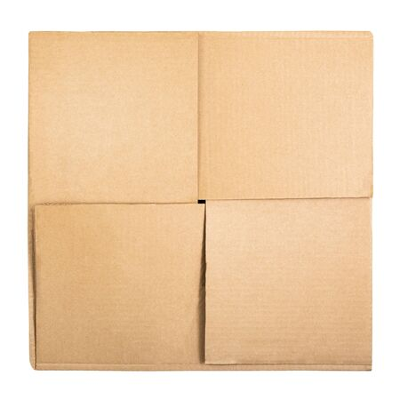 Square cardboard box isolated on white background. Top view. Flat lay