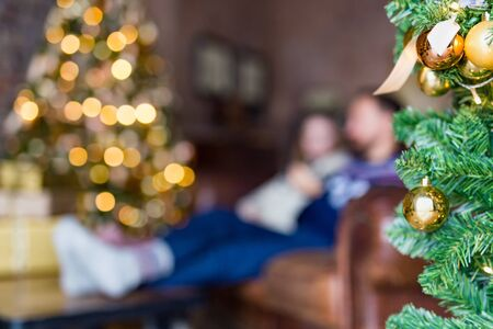 Young couple sitting on the sofa near decorated Christmas tree in cozy loft. Blurred image with green fir tree decoration on the forefront