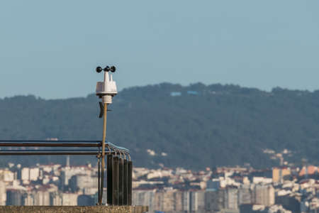 weather station on a stainless steel balcony exterior