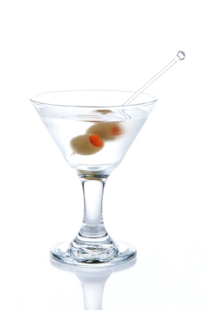 Classic Martini with olives filled by red papper inside isolated on a white background Stock Photo - 8286376