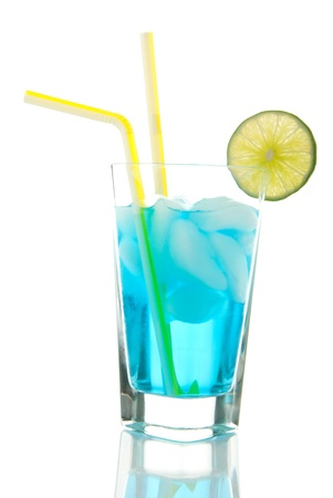 Vodka based Cocktail with light rum, gin, tequila, blue curacao, lime juice, lemonade, two yellow striped straws and lime wheel isolated on a white background photo