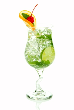 bacardi: Mojito tropical cocktail with bacardi light rum, vodka, lime, spring of spearmint, simple soda and syrup in cocktail glass isolated on a white background