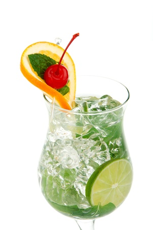 bacardi: Mojito tropical saturday cocktail with bacardi light rum, vodka, lime, spring of spearmint, simple sod, orange wheel with maraschino cherry and syrup in cocktail glass isolated on a white background Stock Photo