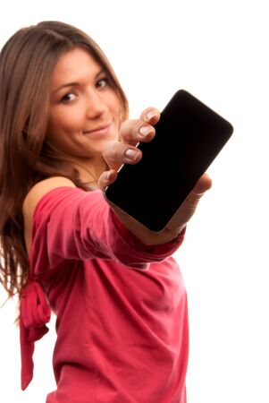 phone business: Young Pretty Woman Showing display of her new touch mobile cell phone. Focus on the hand and phone.