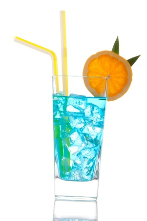 Blue Cocktail with vodka, light rum, gin, tequila, blue curacao, lime juice, lemonade, orange wheel and pineapple isolated on a white background photo