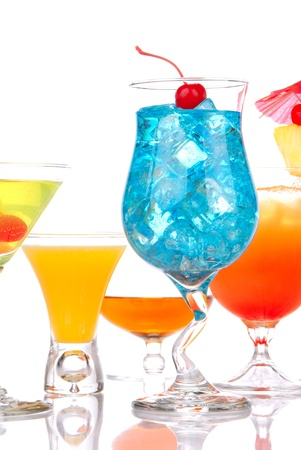 Many popular cocktail drinks with alcohol. Five different type of cocktails Blue hawaiian, Mai tai, Martini, whiskey; margarita isolated on a white background photo