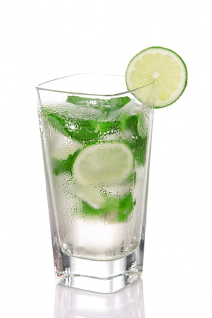 highball: Classic Mojito Cocktail drink with light rum, lime, spring of mint, sprite soda and syrup in cocktails highball glass isolated on a white background Stock Photo