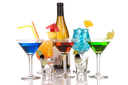 Popular cocktails composition with alcohol. Many types of cocktail beverages Blue hawaiian, Sex on the beach, tropical  Martini, shot of tequila; margarita and bottle of wine isolated on a white background photo