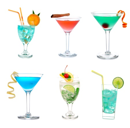 Cocktails collage collection. Blue Hawaiian Lagoonwith curacao, Green and red Tropical Martini, Cosmopolitan, Mojito with mint cherry, Mai Tai cocktail drink isolated on a white background Stock Photo - 8790907