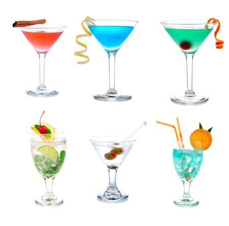 alcoholic drink: Cocktails collection collage Popular Blue Hawaiian, Tropical and classic Martini, Cosmopolitan and Mojito cocktail beverage isolated on a white background Stock Photo