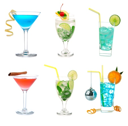 Cocktails collection collage Popular Blue curacao lagoon, Citrus Martini, Cosmopolitan and Mojito cocktail beverage isolated on a white background photo