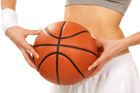 Basketball in beautiful woman basketball player hands. Close up composition isolated  over white background photo
