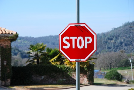 trafic stop: Roadside red stop sign is perfect new on the street over palm and luxury villa background