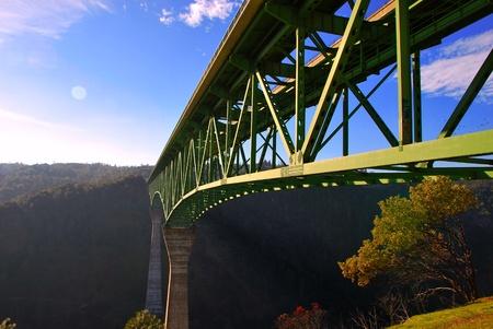 Auburn Bridge Foresthill California highest 730 feet american river north fork over blue sky background Reklamní fotografie