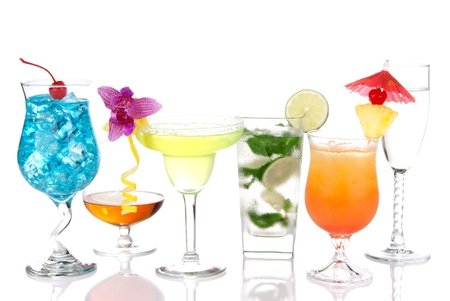Alcoholic Cocktails. Many drinks beverages Blue hawaiian, mojito; Sex on the beach, tropical  Martini, tequila sunrise, margarita, champagne and cognac glass, cocktail umbrella, cherry, lime and pineapple photo