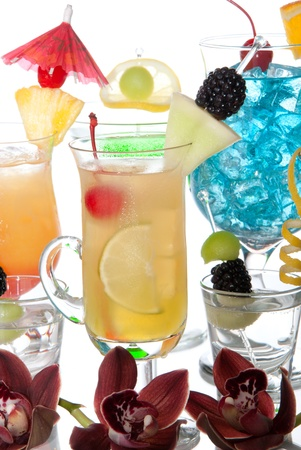 Martini cocktail, Blue lagoon Malibu, Sex on the beach, tequila shots; tropical orchids margarita drink and  Cocktails variation types with beautiful decoration over white background Stock Photo - 8992075