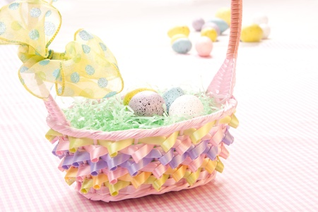 Easter eggs in basket photo