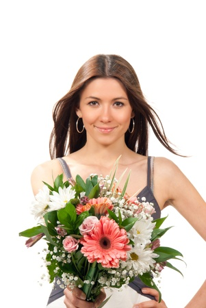 Woman hold and give beautiful flowers roses bouquet and various shopping bags on the wrist on a white background. Focus on flowers