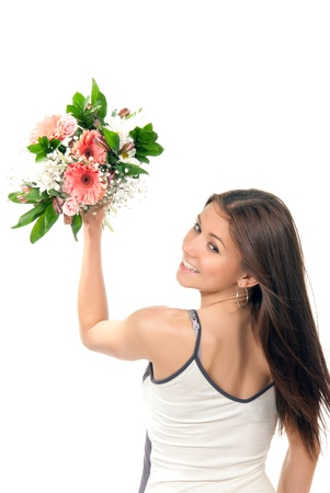 Woman hold and throw away beautiful flowers roses wedding bouquet and various shopping bags on the wrist on a white background. Stock Photo - 9195892
