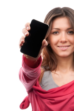 phone button: Young Pretty Woman Showing display of her new touch mobile cell phone. Focus on the hand and cellphone.  Stock Photo