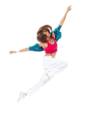 New pretty modern slim hip-hop style woman dancer break jumping dancing isolated on a white studio background  photo