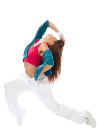 New pretty modern slim hip-hop style woman model dancer break dancing isolated on a white studio background