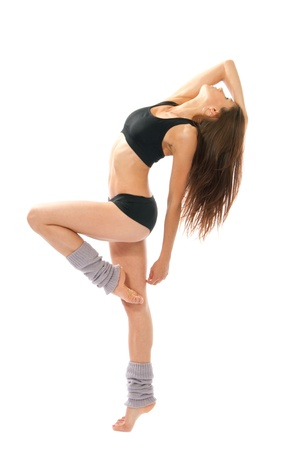 contemporary: Pretty slim jazz modern contemporary style woman ballet dancer pose isolated on a white studio background