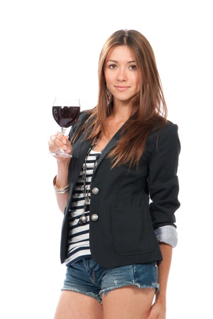 white wine: Woman Tasting sampling red wine isolated on a white background  Stock Photo