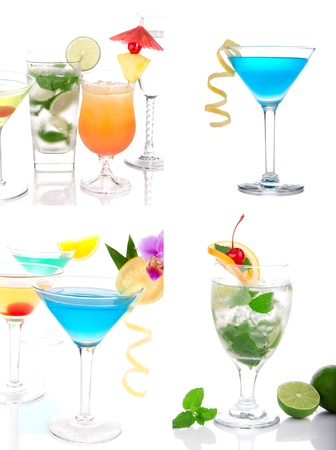 Cocktails collage. Blue Hawaiian Lagoon, Tropical Martini, Cosmopolitan, Mojito, Sex on the beach, Mai Tai in cocktail glasses with decoration on a white background Stock Photo - 9969080