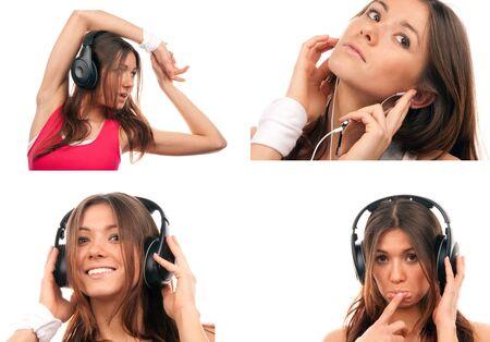 Collage de bastante joven DJ mujer escucha música grandes auriculares en Reproductor de mp3 sonreír y reír aislada sobre fondo blanco photo