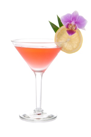 Red alcohol cosmopolitan cocktail decorated with citrus and orchid in martini cocktails glass isolated on a white background photo