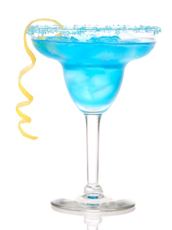 alcoholic drink: Blue Margarita cocktail drink with lemon twist in chilled salt rimmed glass with tequila, orange syrup, fresh mint, crushed ice in cocktails glass isolated on white background  Stock Photo