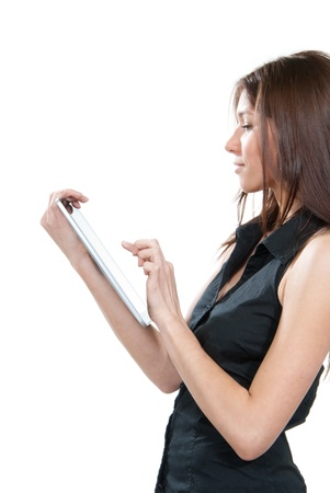 electronic pad: Brunette woman typing on her new electronic tablet touch pad one finger touches the digital screen isolated on a white background