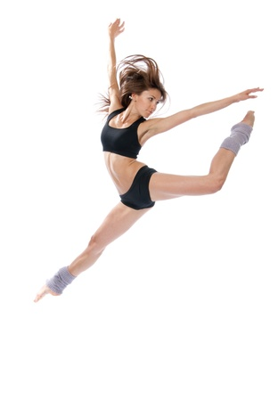 contemporary: New slim jazz modern contemporary style woman ballet dancer jumping isolated on a white studio background