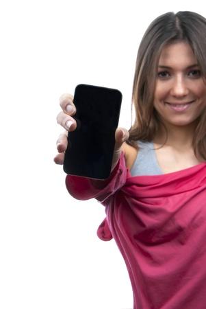 Jonge Mooie vrouw met weergave van haar nieuwe touch mobiele mobiele telefoon. Focus op de hand en de telefoon. Stockfoto