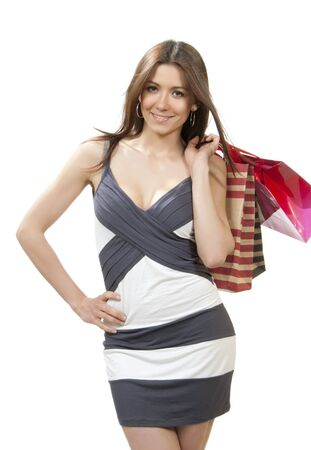 Happy Beautiful woman with shopping bags from supermarket cheerful smiling on a white background  Stock Photo - 10423591