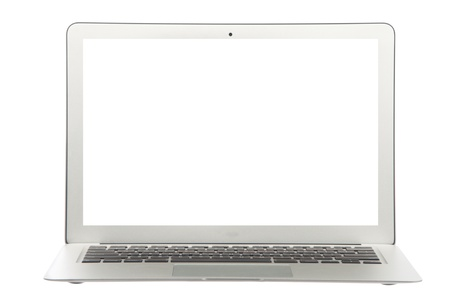 clr: Modern popular  laptop thin and light and white screen isolated on a white background Stock Photo