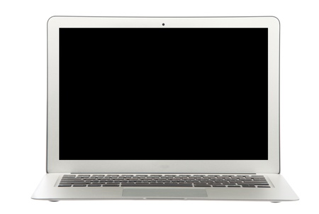 Modern popular  laptop thin and light and black screen isolated on a white background photo