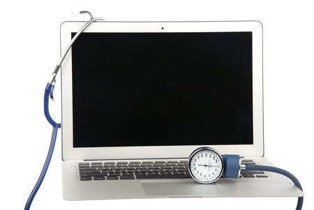 Modern popular laptop pc doctor medical stethoscop support help isolated on a white background photo