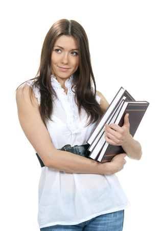 Brunette woman student hold books, textbooks, notebook, homework study assignment in library isolated on white background  photo