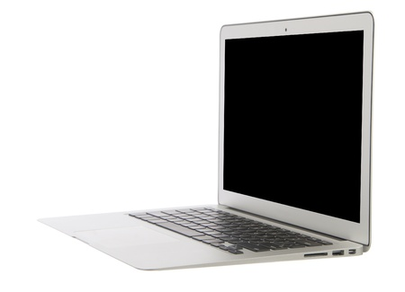 clr: Modern popular business laptop thin computer, light weight with clipping path and black screen isolated on a white background