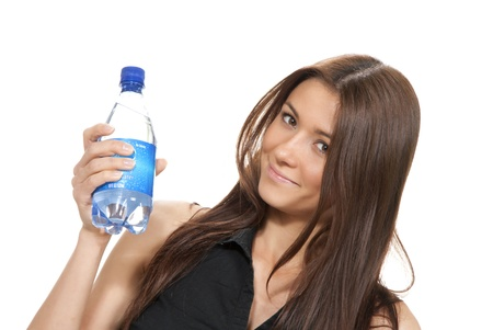 Womanl hold bottle of pure still drinking water. Female holding in hand sparkling mineral bottled water isolated on a white background  Stock Photo - 10746997