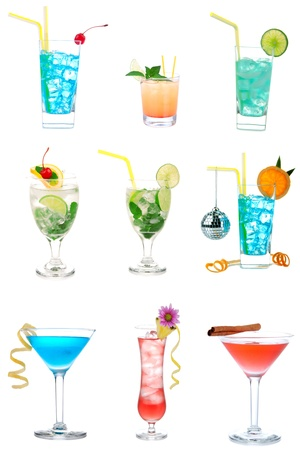 Cocktails collection collage Popular new  Blue Hawaiian, Martini, Cosmopolitan, Mojito tropical cocktail drinks with alcohol vodka isolated on a white background photo